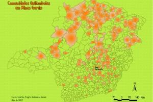 Mapa das comunidades Quilombolas em Minas Gerais